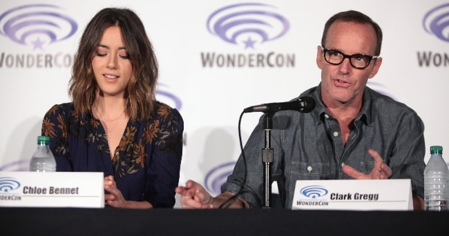 Clark Gregg and Chloe Bennet speaking at the 2016 WonderCon, for 'Marvel's Agents of S.H.I.E.L.D.', at the Los Angeles Convention Center in Los Angeles, California
