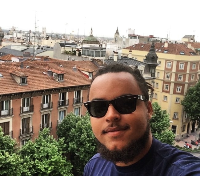Connor Cruise smiling for a selfie in Madrid, Spain in May 2015