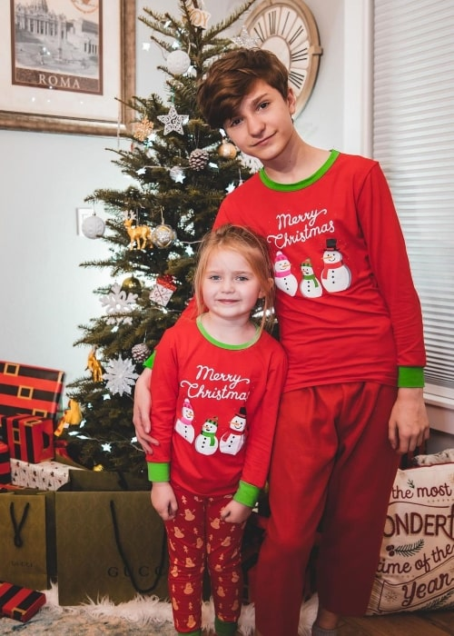 FaZe H1ghSky1 as seen in a picture that was taken with his younger sister Grace Victoria in December 2020