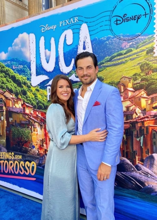 Giacomo Gianniotti and his wife Nichole Gustafson at the premier of Luca at The El Capitan Theatre in June 2021