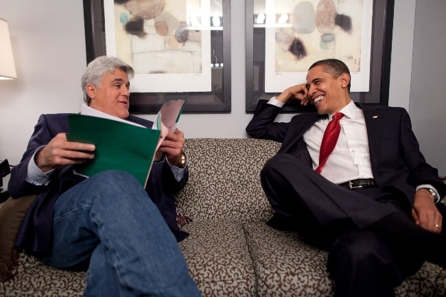 Jay Leno (Left) and Barack Obama talking off the set of 'The Tonight Show' at NBC Studios in Burbank, California on March 19, 2009
