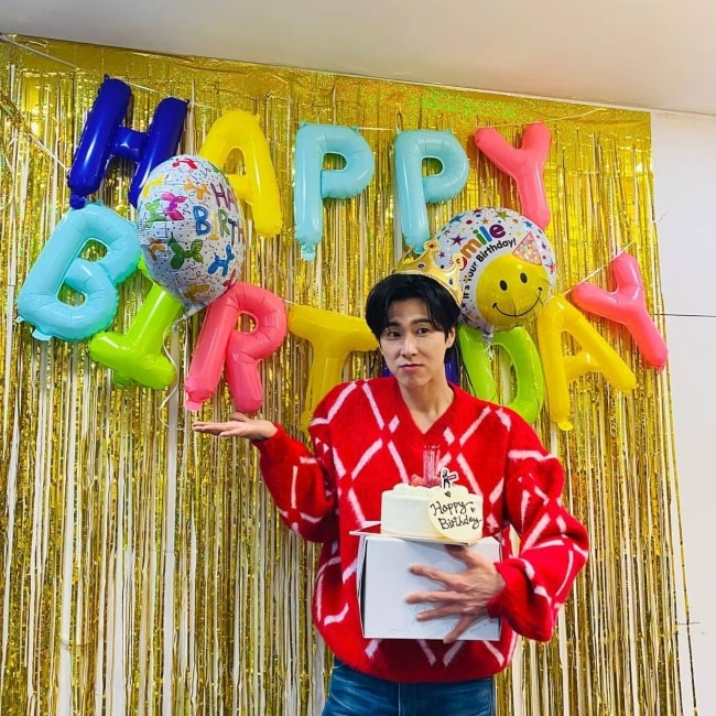 Jung Yun-ho as seen in a picture that was taken on the day of his birthday February 2021
