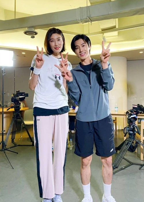 Jung Yun-ho as seen in a picture that was taken with volley ball player Kim Yeon-koung in June 2020