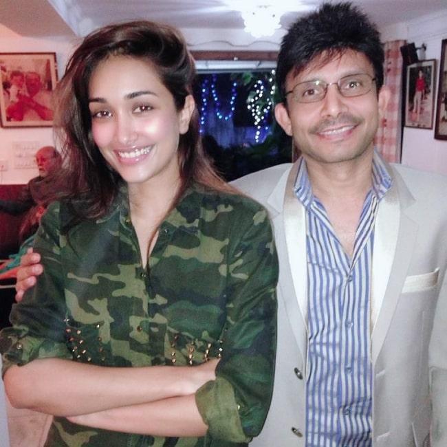 Kamaal R. Khan smiling for a picture alongside late actress Jiah Khan