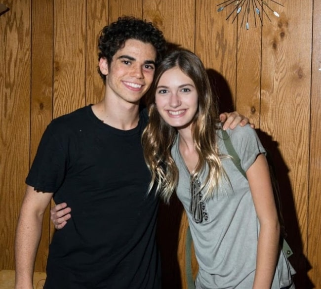 Nicole Elizabeth Berger smiling in a picture with Cameron Boyce in Los Angeles, California