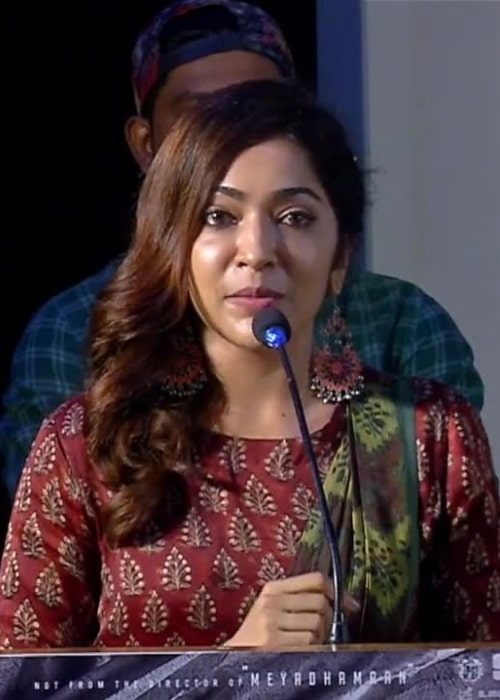 Ramya Subramanian as seen in a screenshot that was taken from a video while she was giving her Speech at 'Aadai' Trailer Launch in July 2019