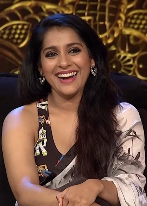 Rashmi Gautam on the sets of 'Extra Jabardasth' in September 2019
