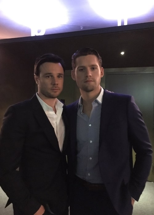 Rupert Evans as seen in a picture that was taken with his co-star Luke Kleintank at the Emmy Awards in 2016