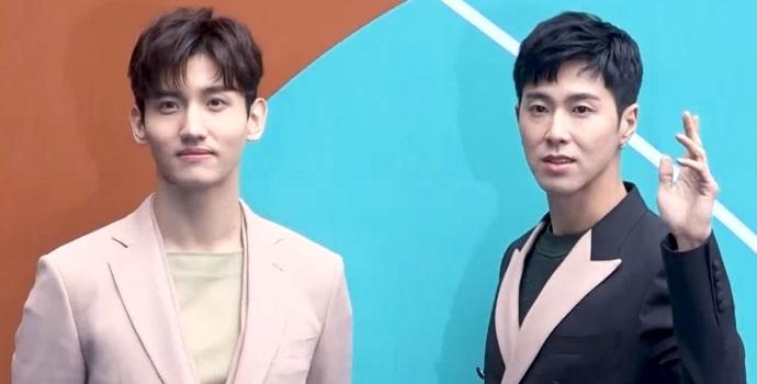Shim Chang-min and Jung Yun-ho at the HERA Seoul Fashion Week in March 2018