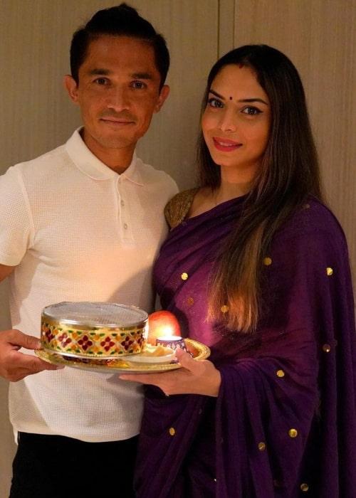 Sunil Chhetri and Sonam Bhattacharya, as seen in November 2020