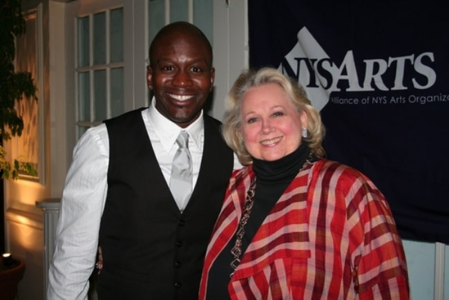 Tituss Burgess smiling for a picture alongside Barbara Cook at the NYS ARTS Fall Gala 2008