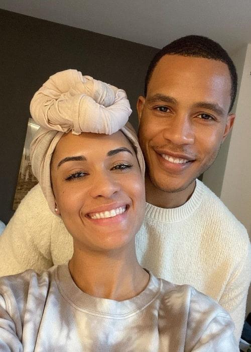 Trai Byers smiling in a selfie alongside Grace Byers in February 2021