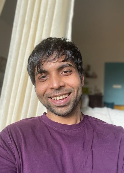 Abhishek Banerjee smiling for the camera in June 2021