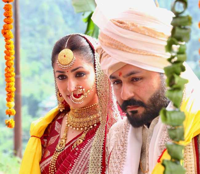 Aditya and Yami seen on their wedding day in 2021