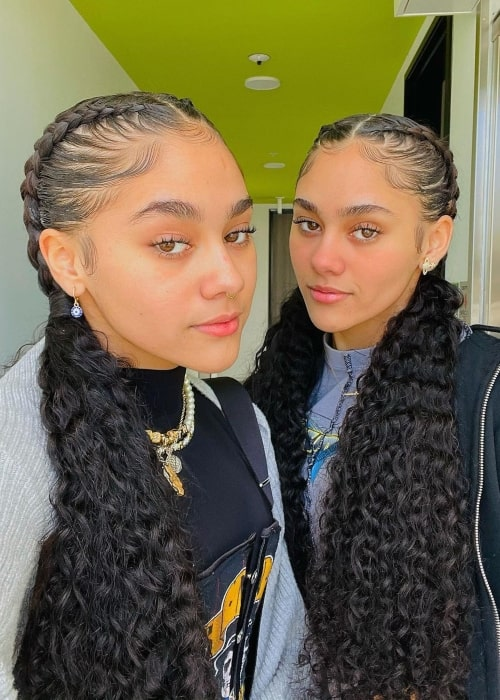 Alexa Montes as seen in a selfie that was taken with her twin sister Alicia Montes in March 2021