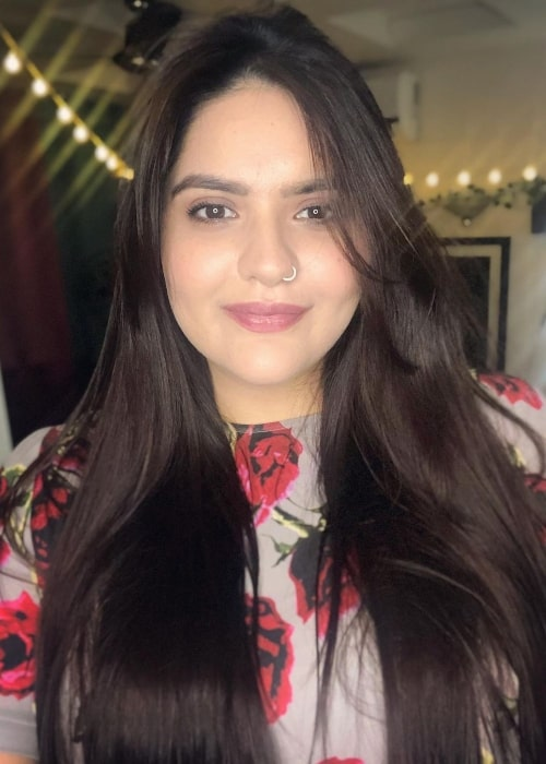 Anjali Anand as seen while smiling in a selfie in April 2021