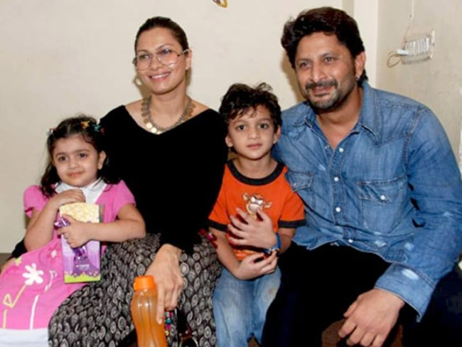Arshad Warsi pictured with wife Maria Goretti and children in 2010