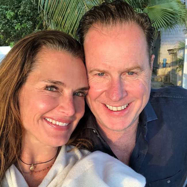 Chris Henchy and Brooke Shields seen in 2018