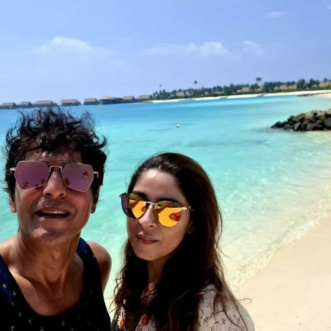Chunky Pandey as seen while taking a selfie with his wife Bhavana Pandey in Maldives in February 2021