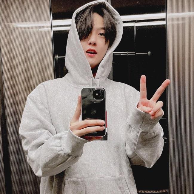Donghyuk as seen in a selfie that was taken in December 2020