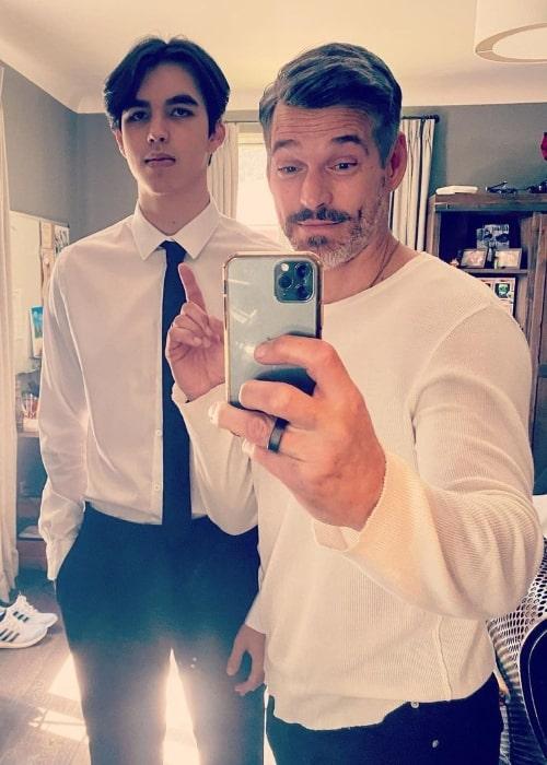 Eddie Cibrian as seen while clicking a mirror selfie with his son