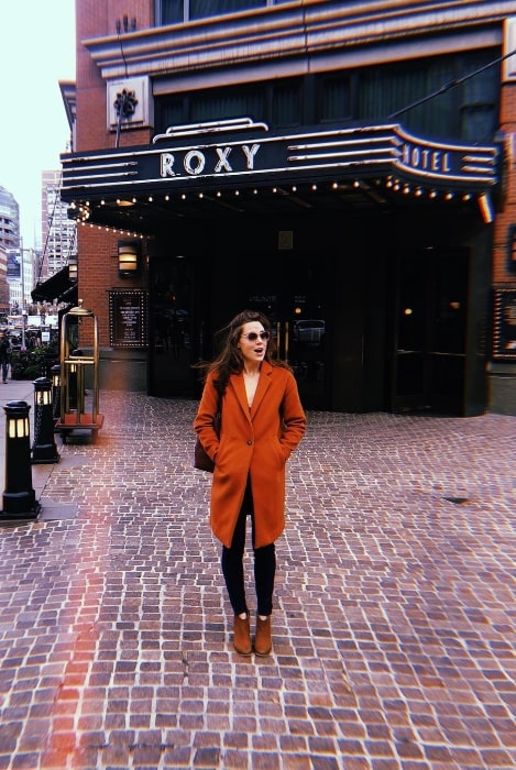 Erika Henningsen as seen outside The Roxy Hotel in New York City, New York in November 2018