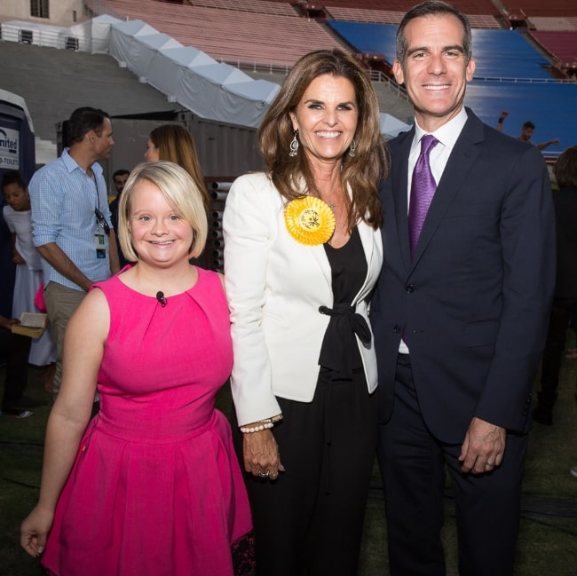 From Left to Right - Lauren Potter, Maria Shriver, and Eric Garcetti celebrate the opening ceremony of the LA 2015 Special Olympics at the Coliseum