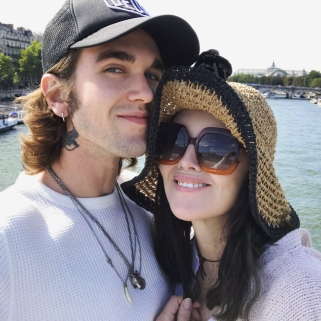 Gabriel-Kane Day-Lewis as seen in a selfie with his mother actress and singer Isabelle Adjani in September 2019
