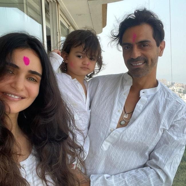 Gabriella Demetriades and her beau Arjun Rampal and son Arik Rampal in March 2021