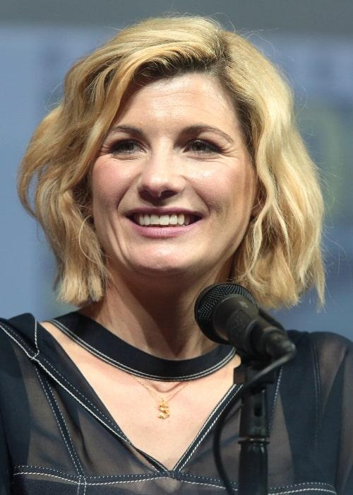 Jodie Whittaker speaking at the 2018 San Diego Comic-Con International in San Diego, California