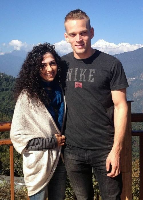 Karl Rock as seen in a picture that was taken with his wife Manisha Malik in Sikkim in January 2021