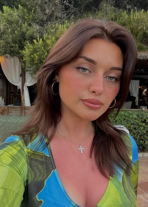 Laura Genovino as seen in a selfie that was taken at Cala Mayor Beach in June 2021