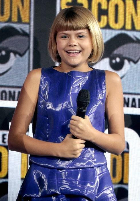 Lia McHugh as seen while speaking at the 2019 San Diego Comic-Con International in San Diego, California