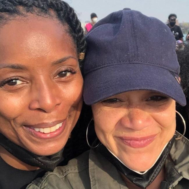 Michole Briana White and fellow actress and director Tasha Smith in April 2021