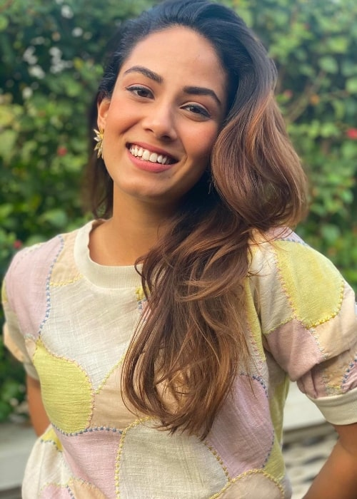 Mira Rajput as seen while smiling for the camera