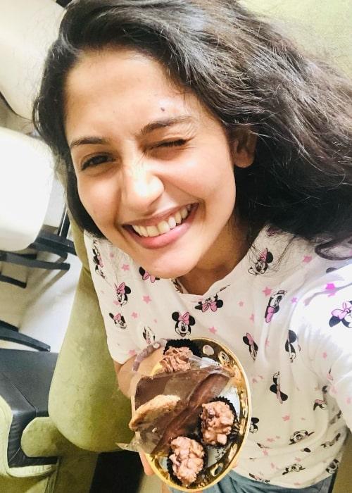 Nayanathara Wickramaarachchi as seen in a selfie taken while celebrating international chocolate day in July 2021