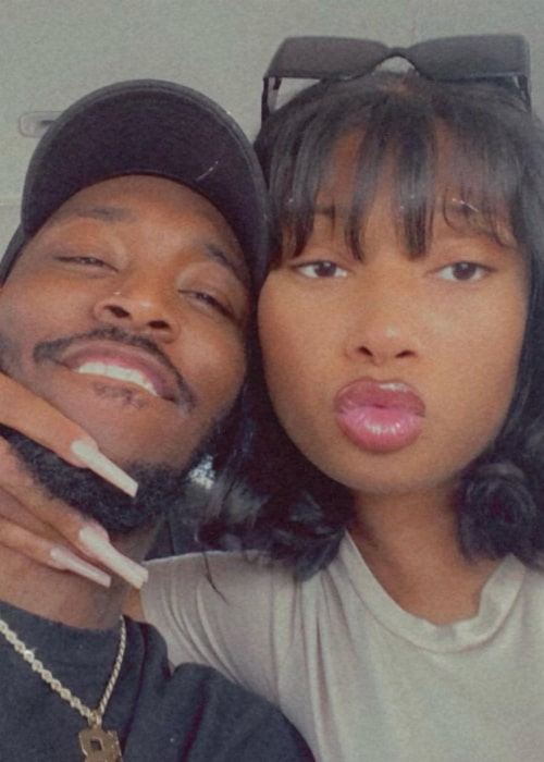 Pardison Fontaine smiling in a selfie with Megan Thee Stallion in an Instagram post in May 2021