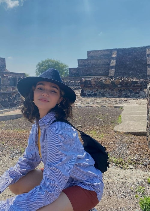 Paulina Chávez as seen while posing for the camera in Teotihuacán, Mexico in May 2021
