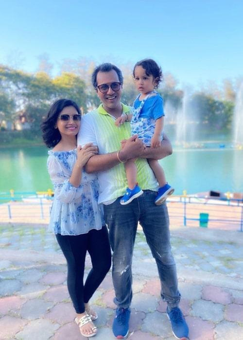 Priya Ahuja alongside her husband director Malav Rajda and their son Ardaas Rajda in May 2021