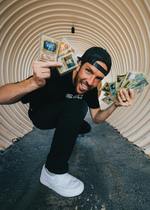 Shaun McBride as seen in a picture with his top pokemon card collection Pallet Town, Kanto in May 2021