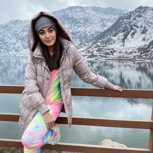 Shefali Jariwala as seen while posing for a beautiful picture in Tsomgo, Sikkim, India
