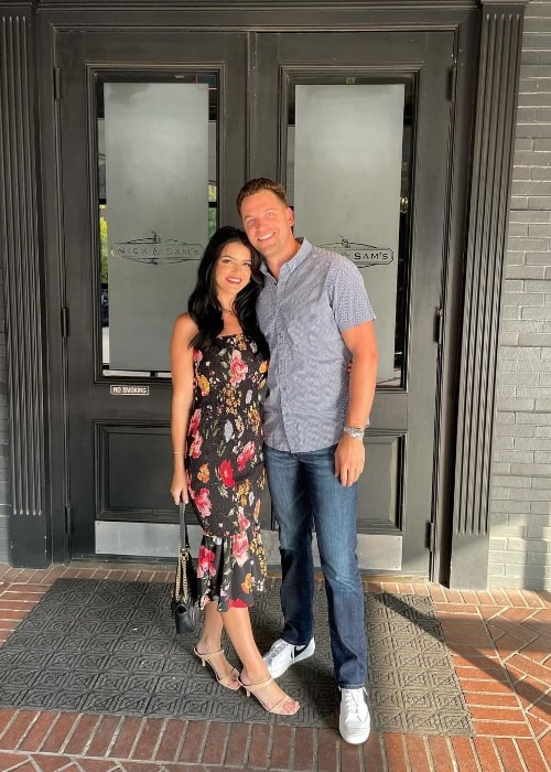 Adam Gottschalk as seen while posing for a picture alongside Raven Gates at Nick & Sam's Steakhouse in August 2021