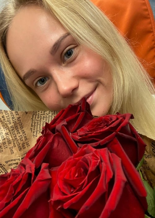 Angelina Melnikova as seen in a selfie that was taken in July 2021, at the Sheremetyevo - A.S. Pushkin International Airport