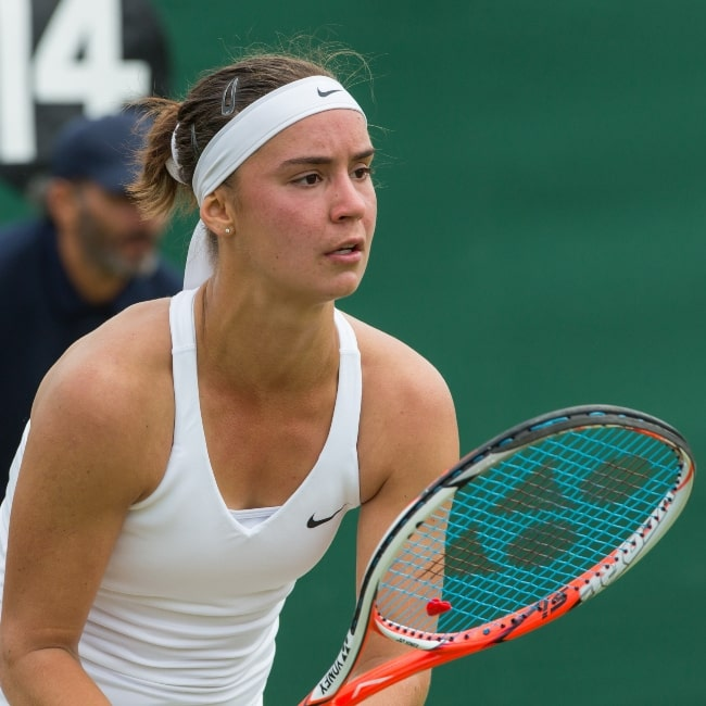 Anhelina Kalinina in a picture that was taken in the first round of the 2015 Wimbledon Qualifying Tournament at the Bank of England Sports Grounds in Roehampton, England