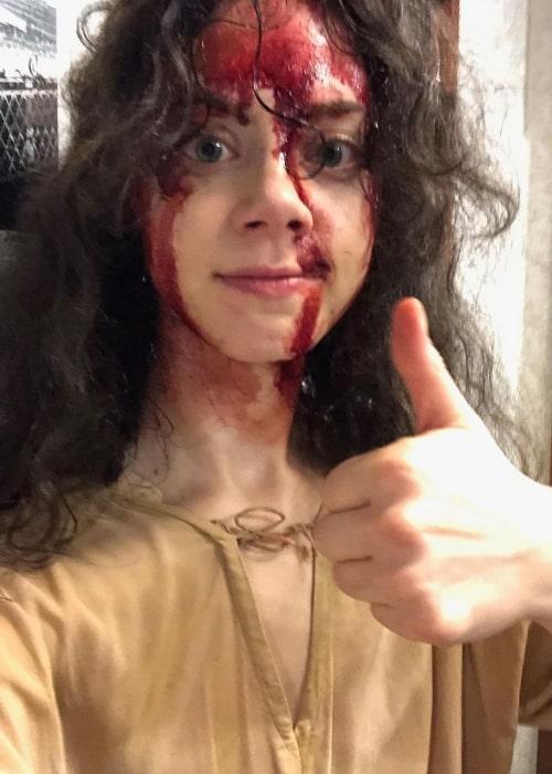 Elizabeth Scopel as seen in a selfie that was taken while dressed in death makeup in August 2021