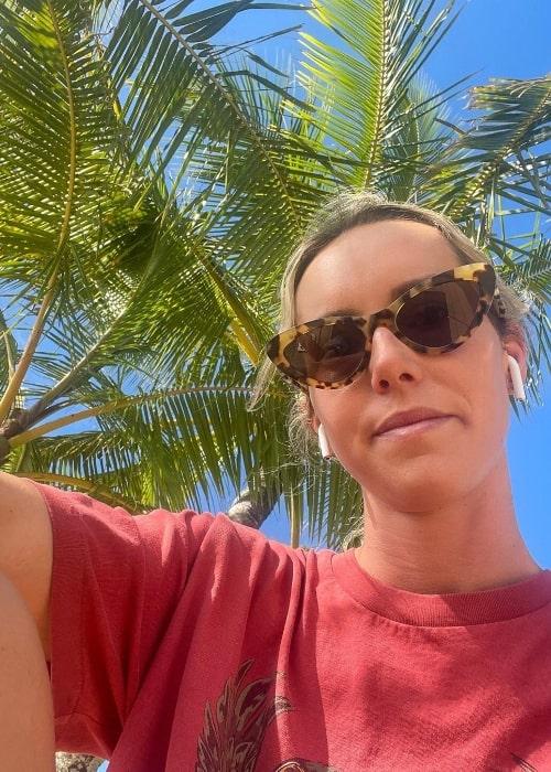 Emma McKeon as seen in a selfie in Cairns, Queensland, Australia in July 2021