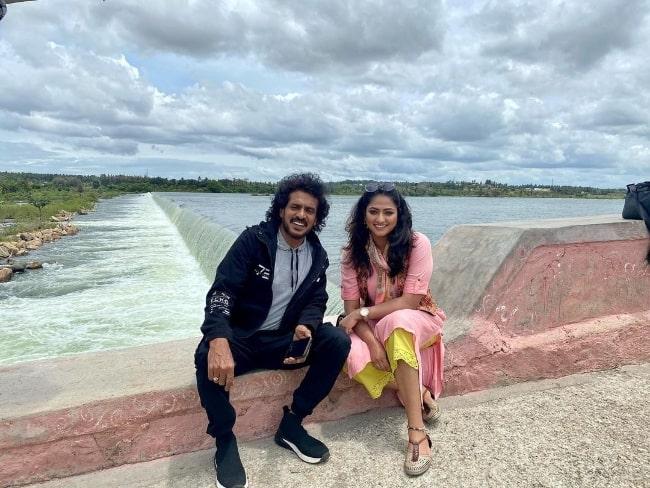 Hariprriya and Upendra pictured while shooting for 'Lagaan' in Mysore, Karnataka