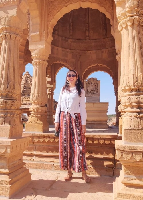 Jheel Mehta posing for a picture at Bada Bagh in Jaislamer, Rajasthan in March 2020