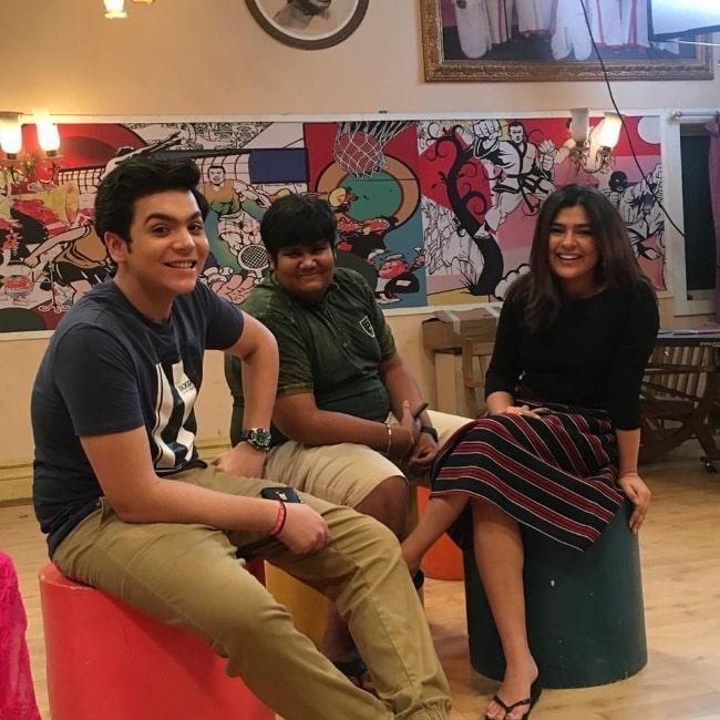Kush Shah (Center) with his 'Taarak Mehta Ka Ooltah Chashmah' co-stars Raj Anadkat and Nidhi Bhanushali in September 2018