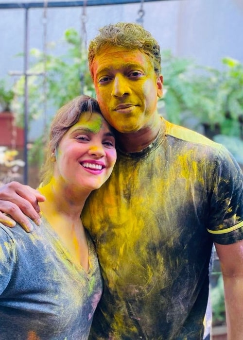 Lara Dutta and Mahesh Bhupathi celebrating Holi in March 2021